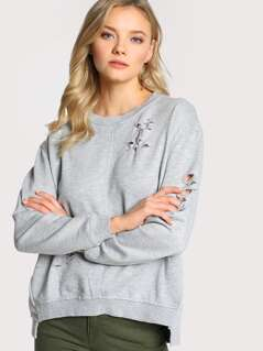 Long Sleeve Distressed Top GREY