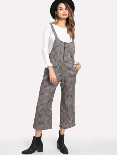 Ring Zip Plaid Strap Jumpsuit