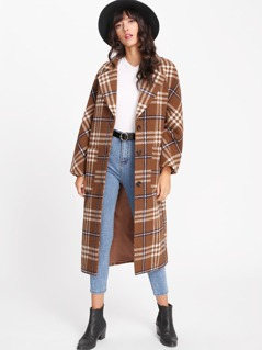 Notch Collar Checked Longline Outer