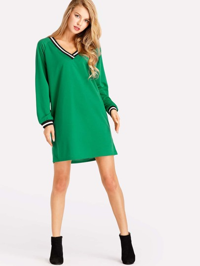 Contrast Stripe Trim Raglan Sleeve Dress
