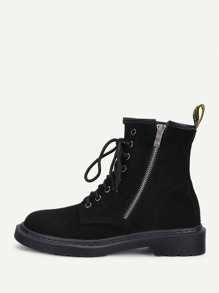 Side Zipper Lace Up Suede Boots