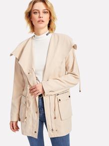 Exaggerate Drape Collar Drawstring Waist Jacket