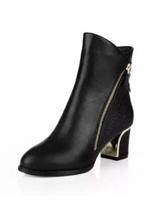Side Zipper Block Heeled PU Boots