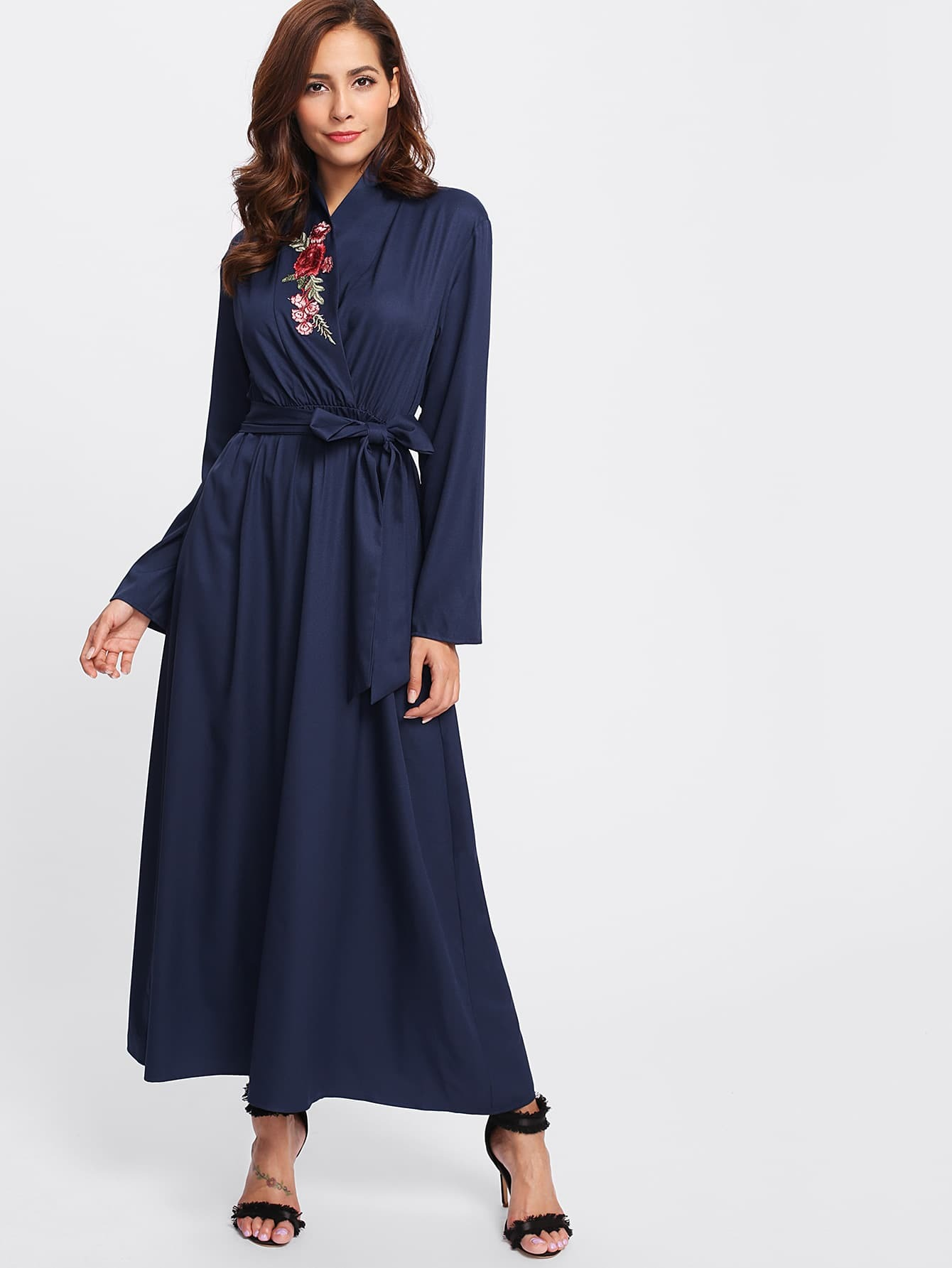 Image of Applique Detail Surplice Front Belted Hijab Long Dress