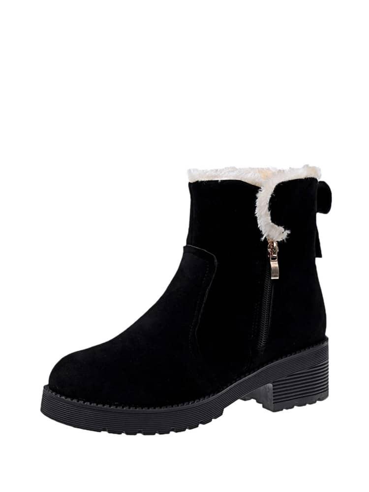 Round Toe Side Zipper Scrub Boots