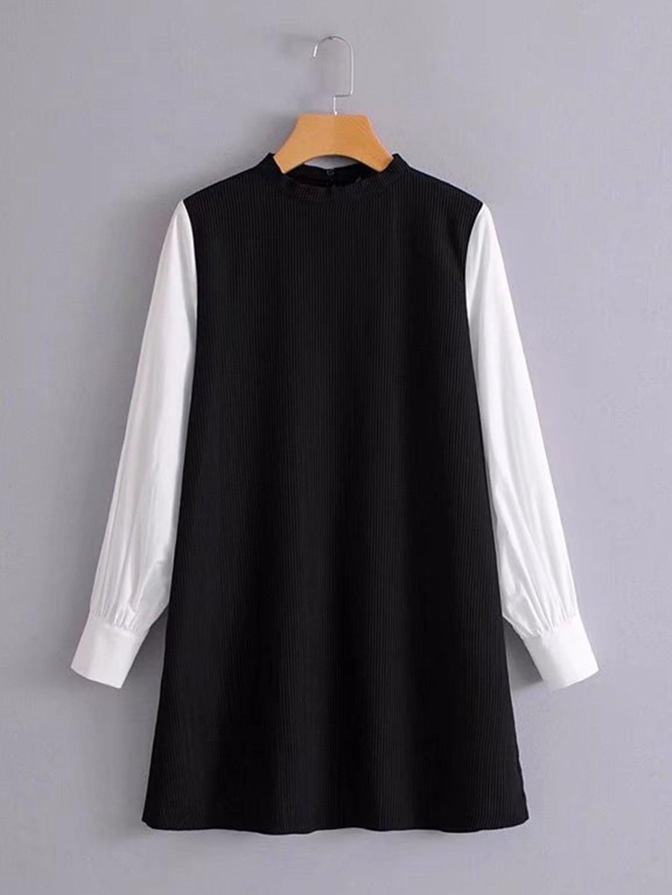 Contrast Sleeve Rib Dress dress171116205