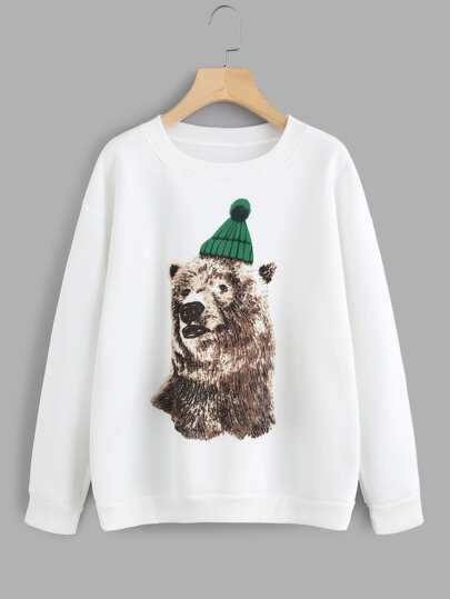 Sweat-shirt imprimé de l\'ours