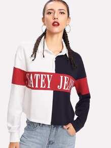 Collared Color Block Sweatshirt