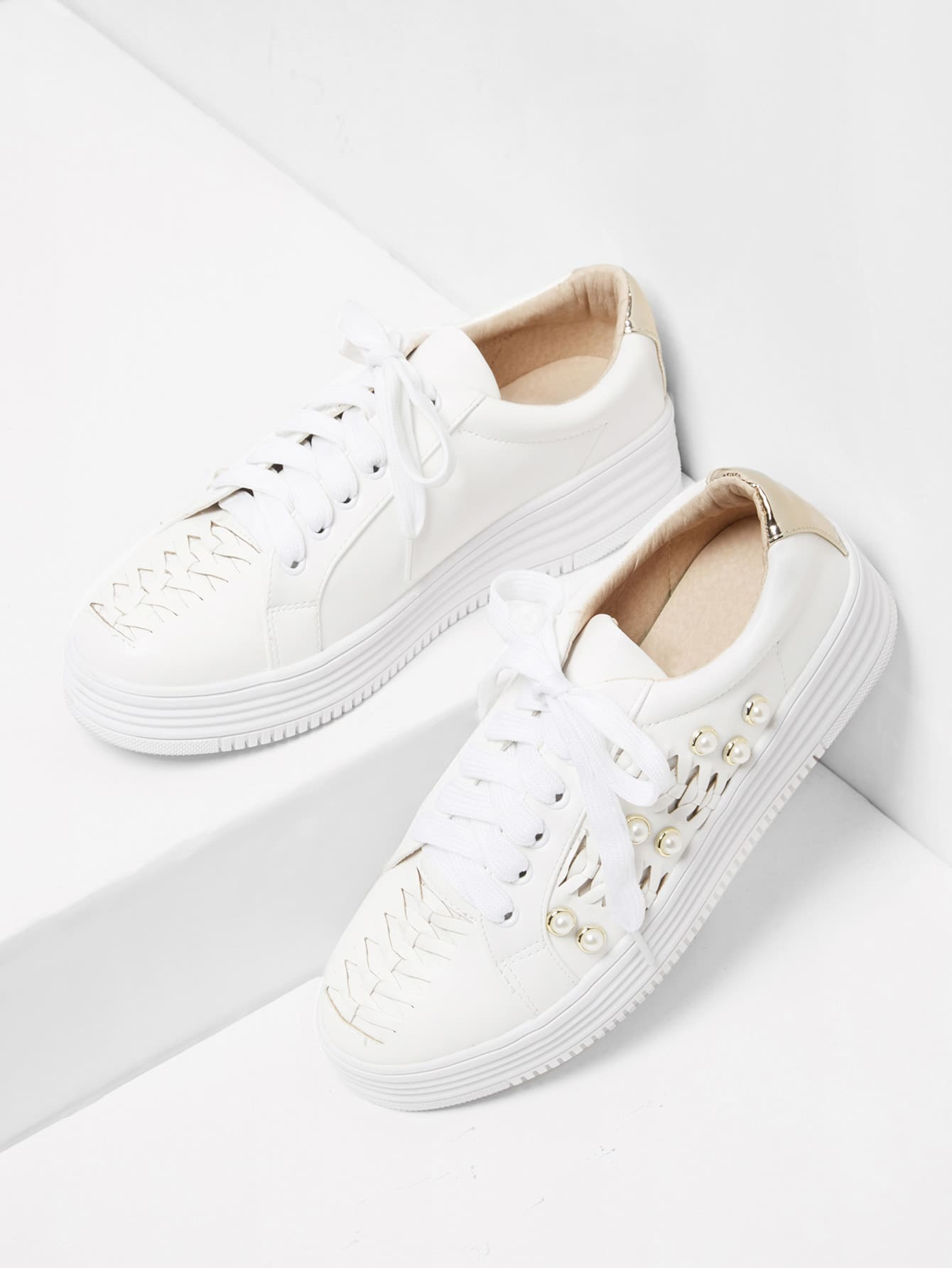 Faux Pearl Detail Lace Up Sneakers pearl and layered lace detail pullover