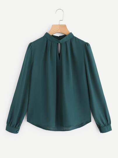 V Cut Pleated Front Blouse
