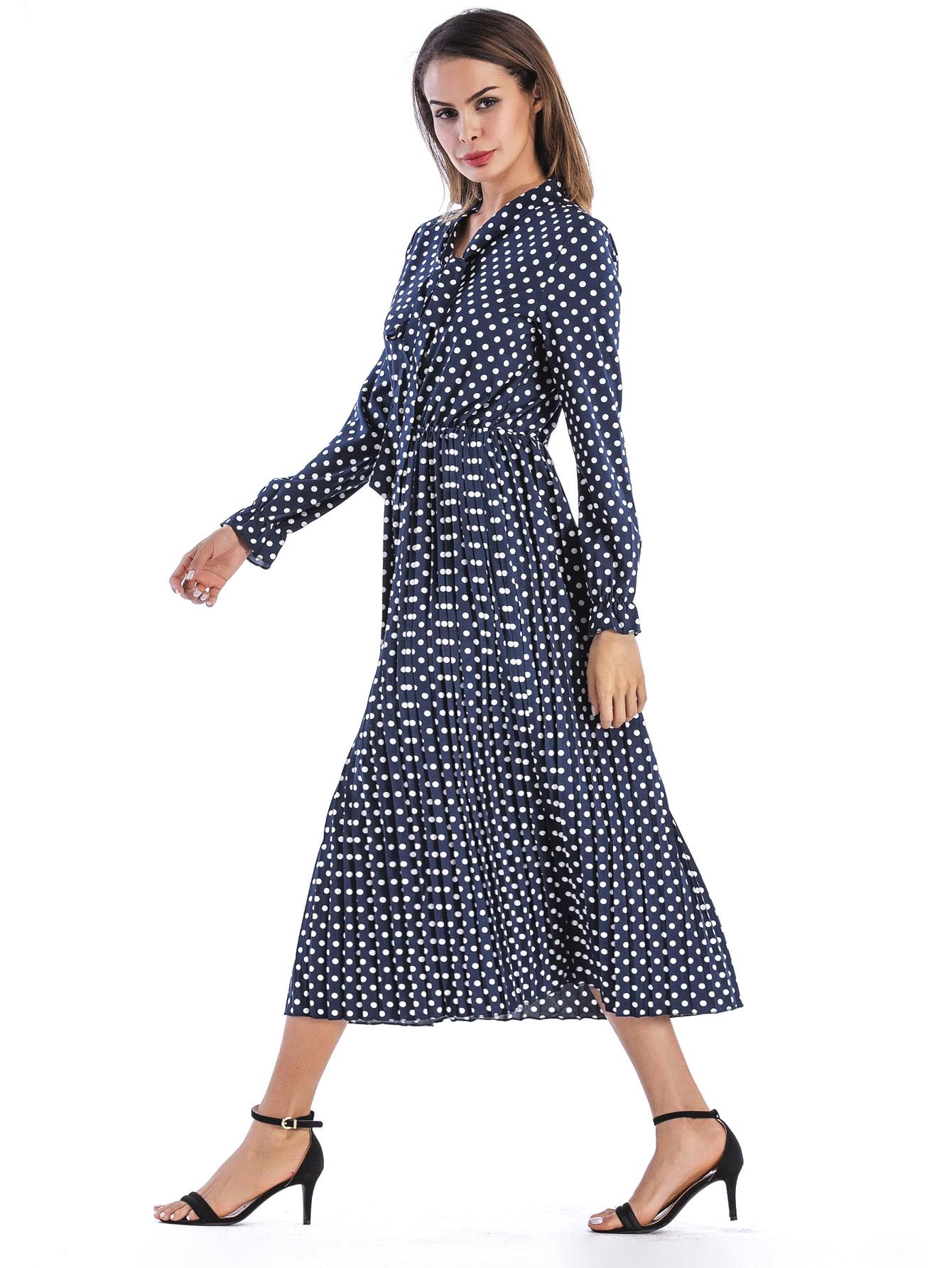 Купить Модное платье в горошек с бантом, Andy, SheIn