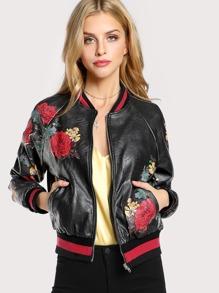 Vegan Leather Floral Bomber Jacket BLACK