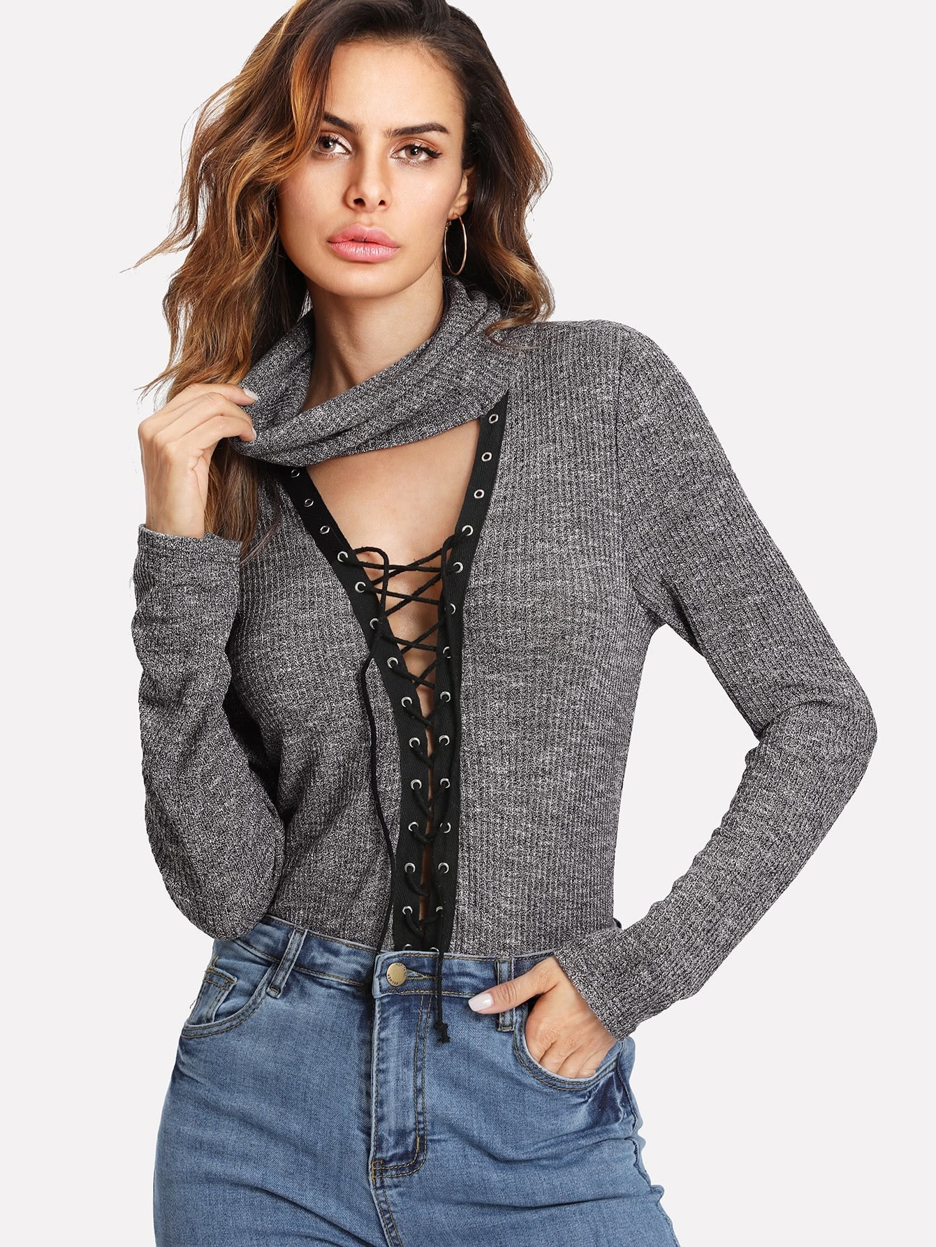 Cowl Neck Plunging Lace Up Marled T-shirt marled plaid cowl neck top