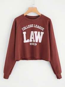 Raglan Sleeve Print Crop Sweatshirts