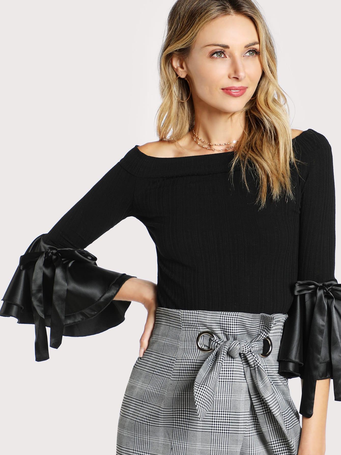 цены Bow Tie Bell Cuff Rib Knit Bardot Tee