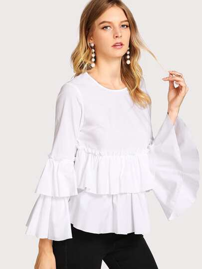 Trumpet Sleeve Double Layer Smock Top
