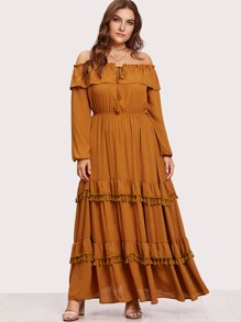 Tassel And Ruffled Tiered Bardot Dress