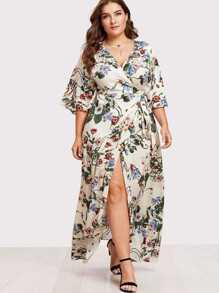 Kimono Sleeve Surplice Wrap Botanical Dress
