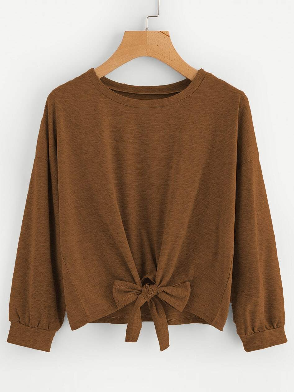 Bow Tie Front Drop Shoulder Sweatshirt two tone drop shoulder sweatshirt