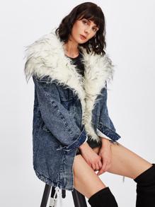 Faux Fur Lined Denim Coat