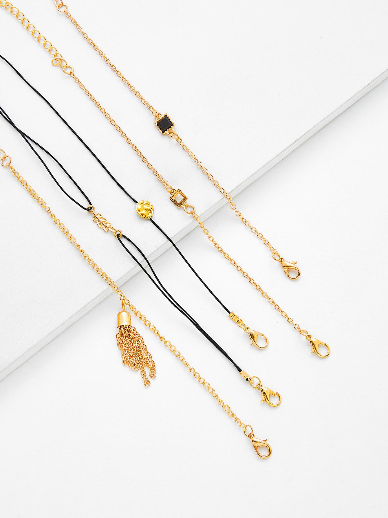 Chain Tassel & Leaf Charm Bracelet Set leaf opening bracelet
