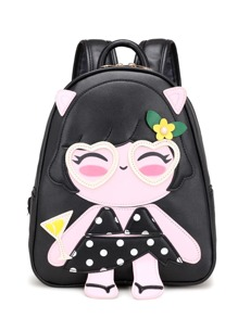 Girl Pattern PU Backpack