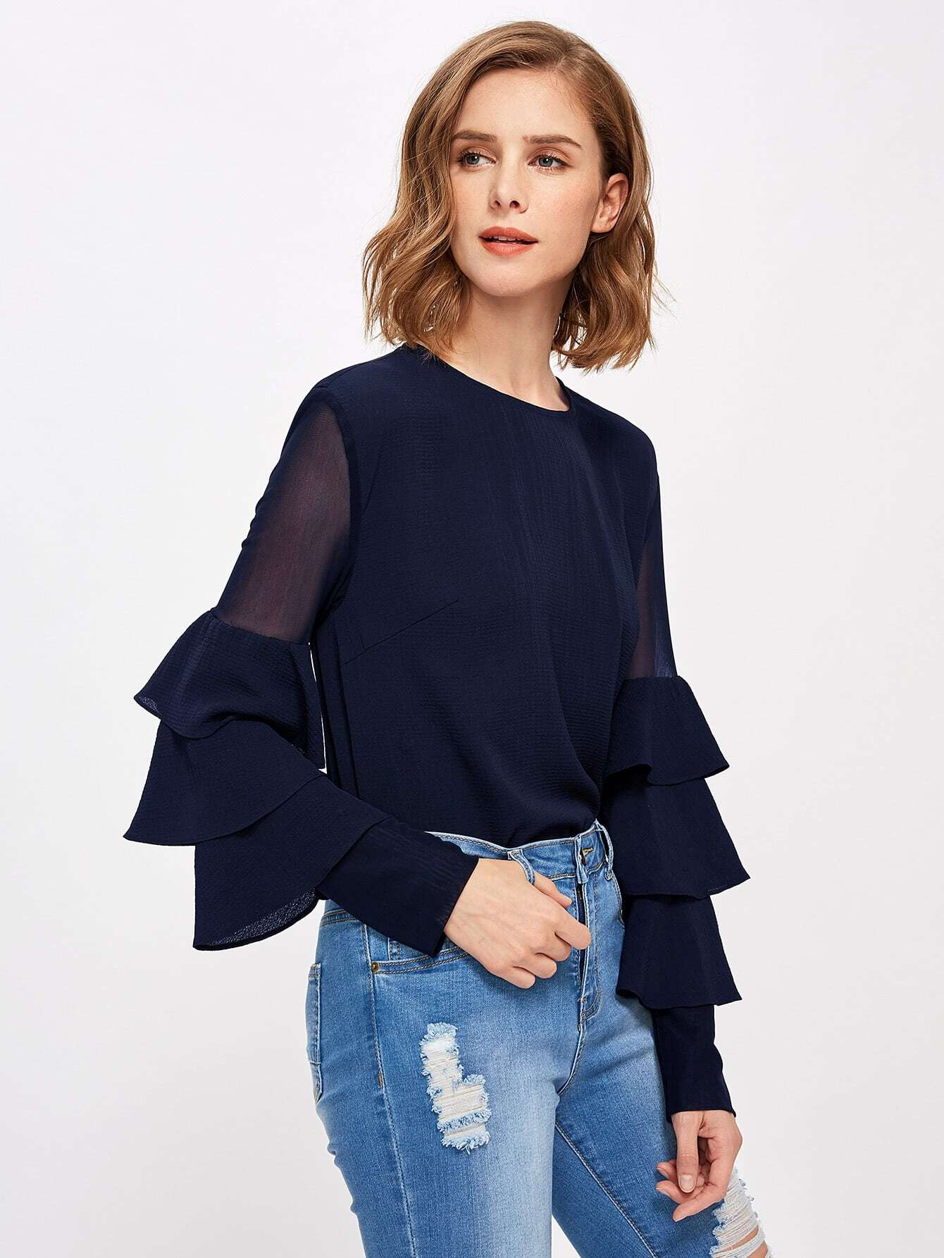 все цены на Mesh Insert Tiered Bell Sleeve Blouse в интернете