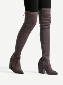 Pointed Toe Block Heeled Thigh High  Boots