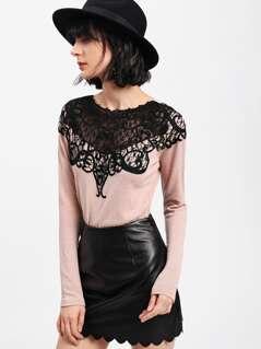 Contrast Lace Applique T-shirt