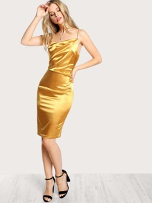 Satin Cowl Neck Midi Dress MUSTARD