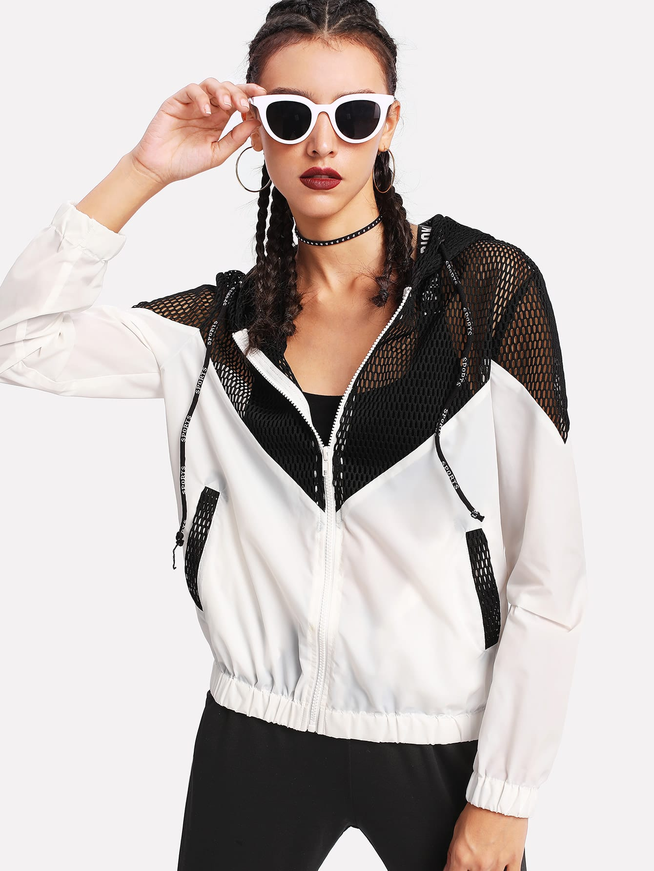 Two Tone Mesh Panel Hooded Jacket drop crotch loose two tone pants