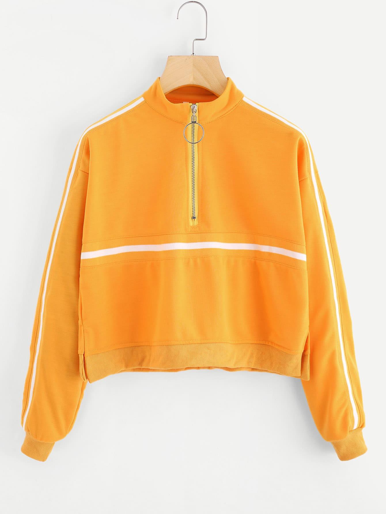 Купить Видспорта Полосатые изображения на молнии Пуловеры Желтый Свитшоты, null, SheIn
