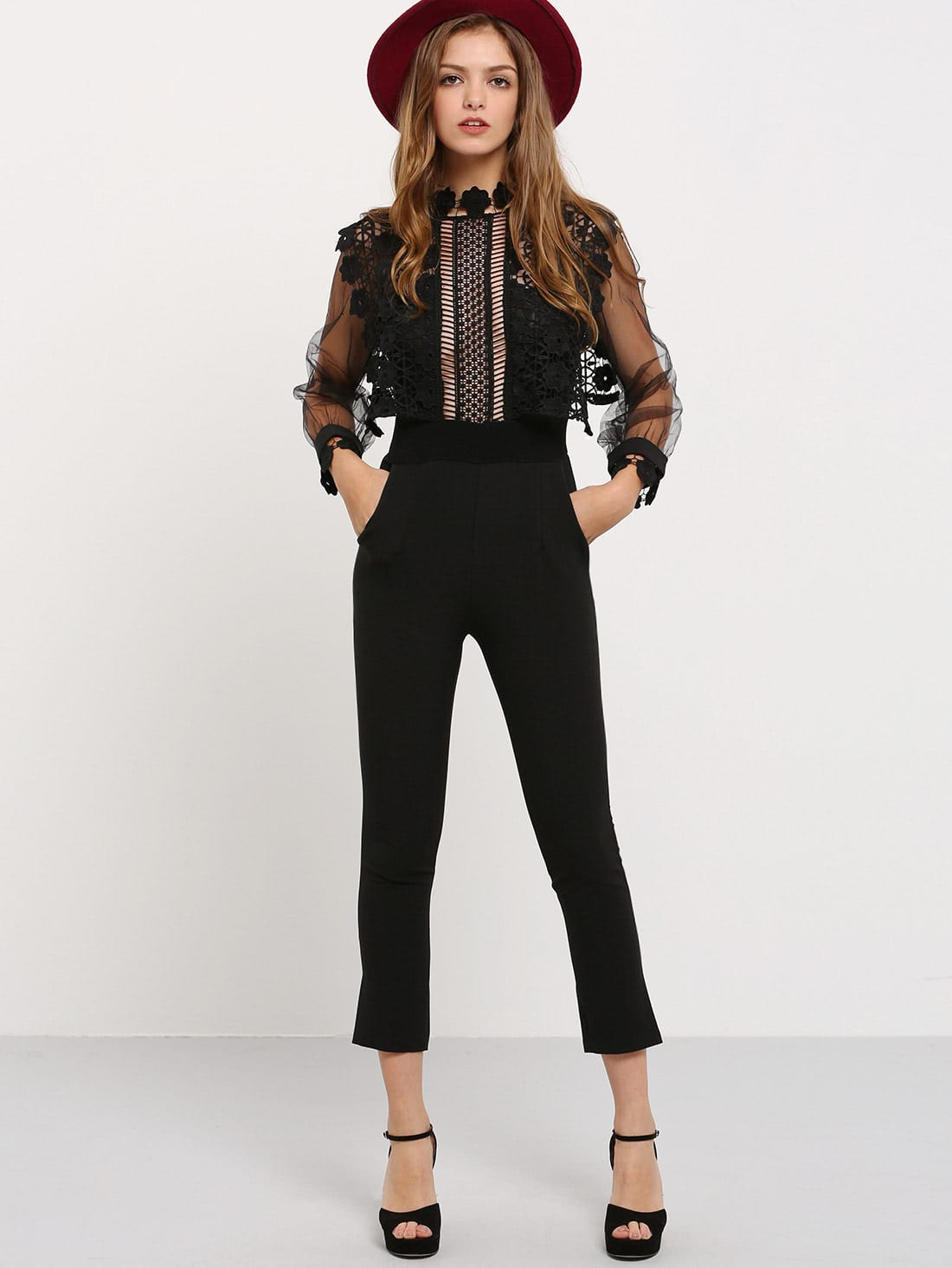 Black Lantern Sleeve Lace Crochet Jumpsuit