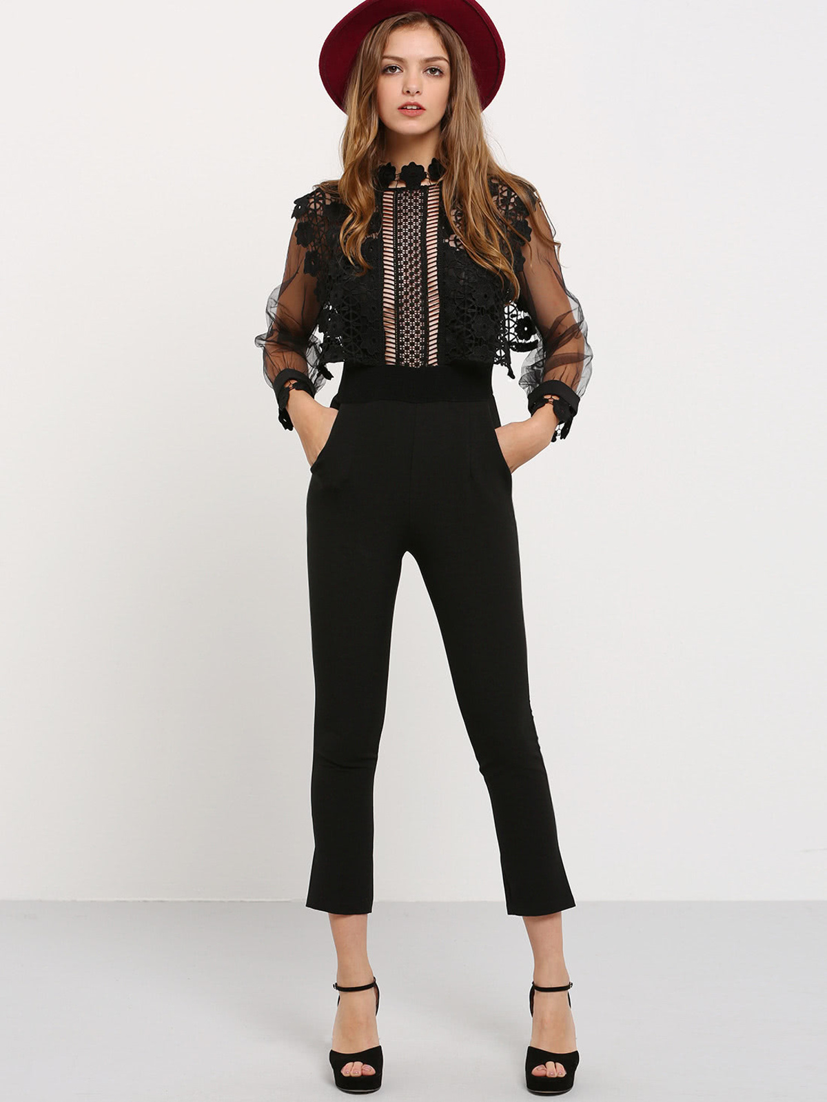 黑色 燈籠袖 蕾絲 針織 連身服飾