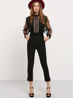 Black Lantern Sleeve Lace Crochet Jumpsuit