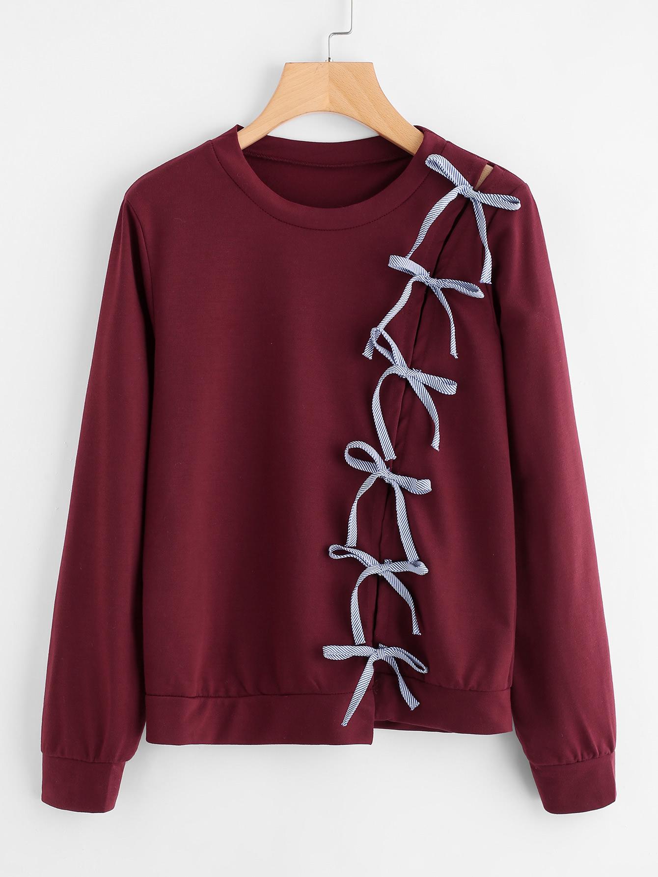 Bow Tie Detail Marled Sweatshirt tape detail drop shoulder marled sweatshirt