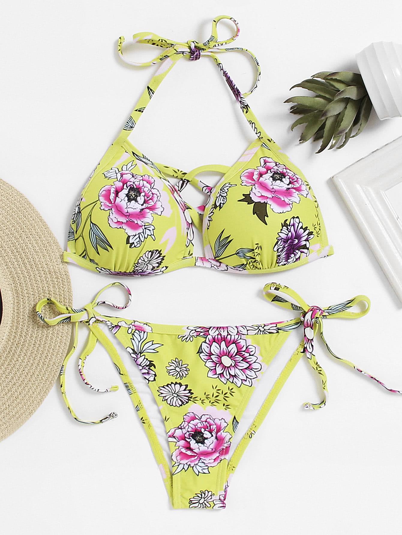 Tie Side Criss Cross Front Bikini Set
