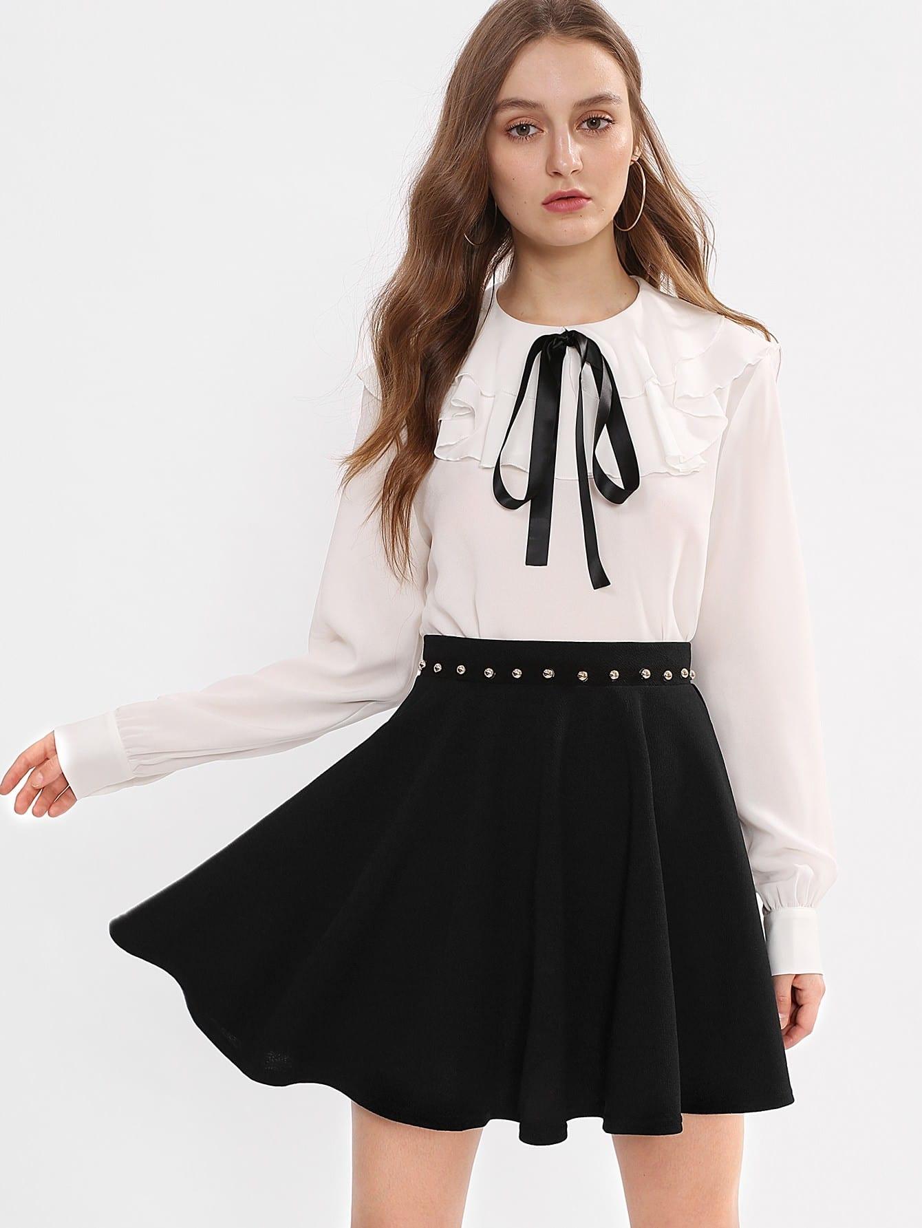 все цены на Beading Waist Boxed Pleated Skirt