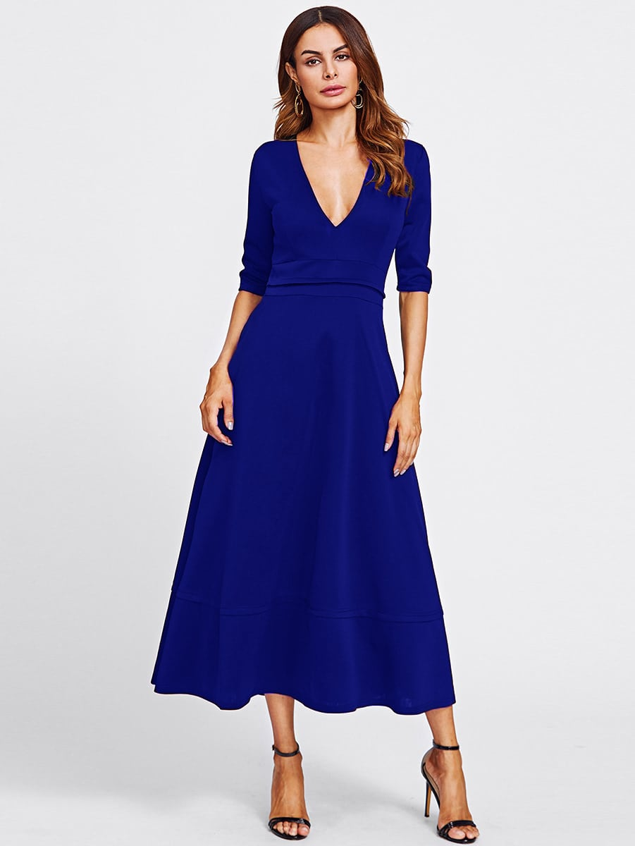 Plunging V-neckline Zip Back Dress