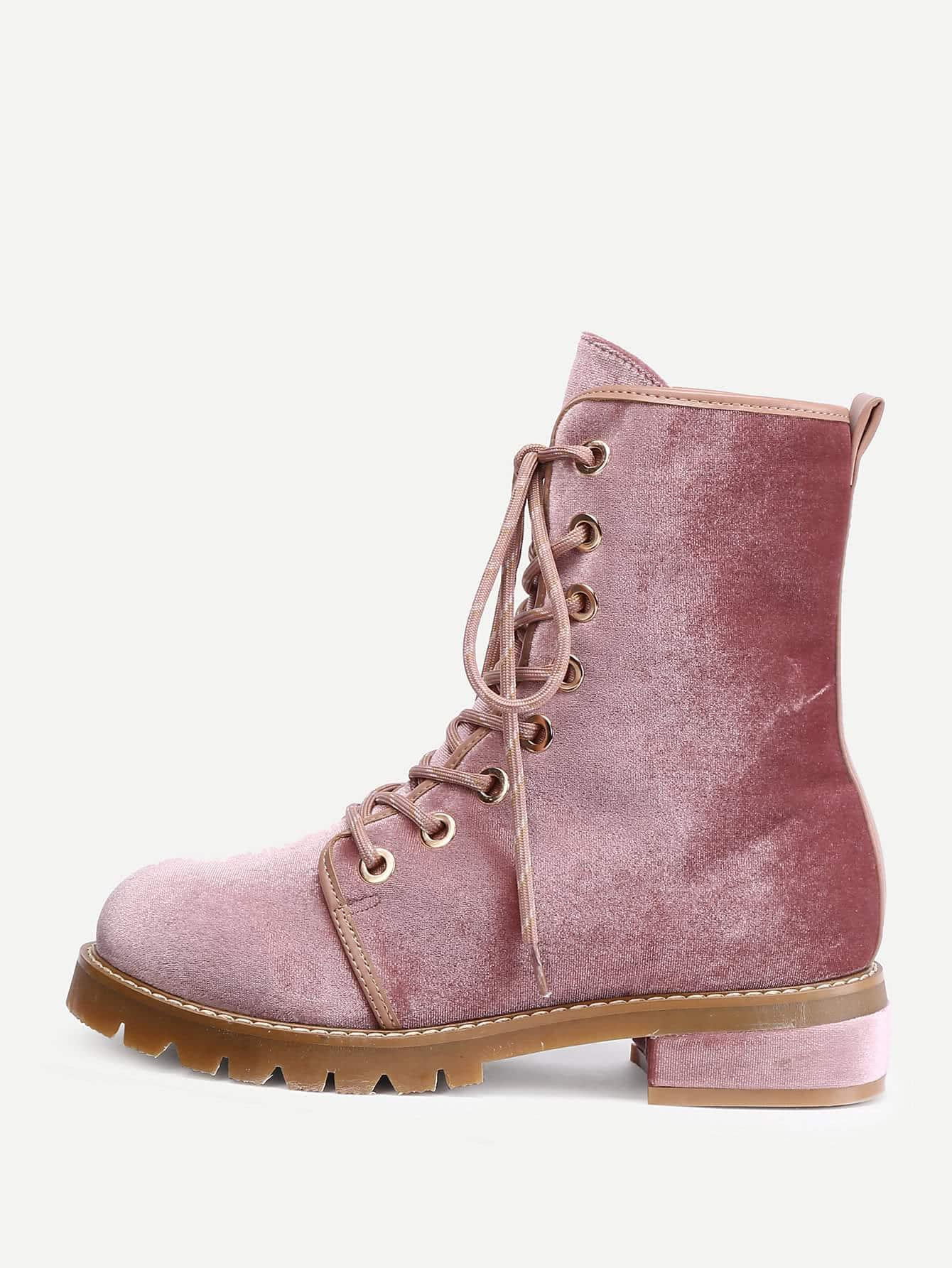 Lace Up Flat Velvet Boots