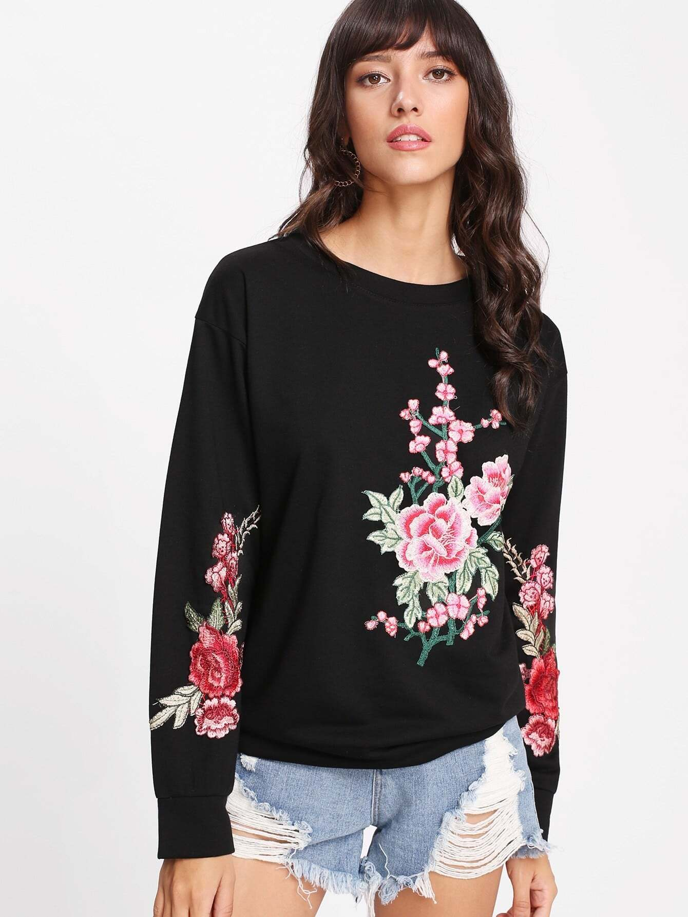 Embroidered Appliques Pullover contrast check plaid embroidered appliques sweatshirt