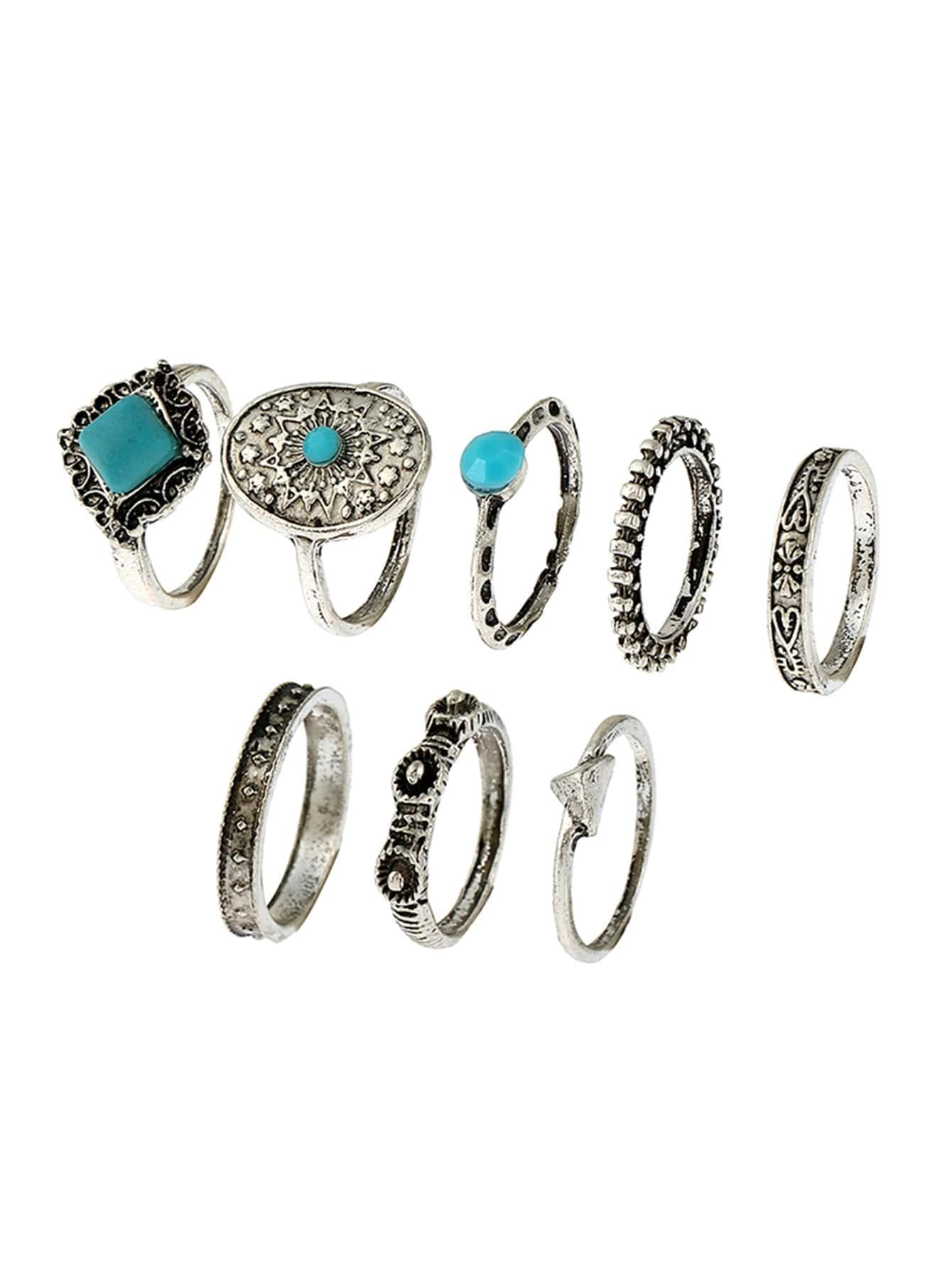 Turquoise Detail Engraved Ring Set 8pcs