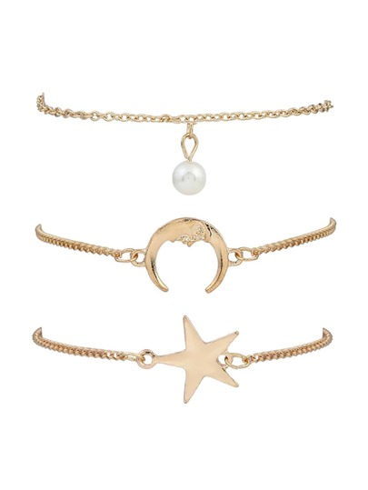 Star & Crescent Chain Bracelet 3pcs