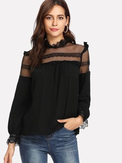 Dobby Mesh Neck Lace Cuff Frilled Top