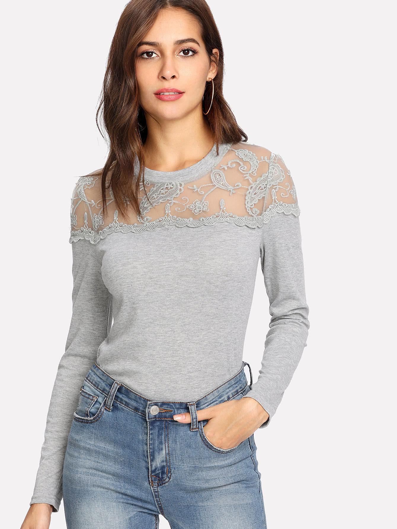 Embroidered Mesh Yoke Heather Knit Tee mesh trim heather knit tee