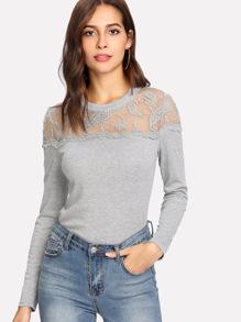 Tee tricoté avec épaule transparent