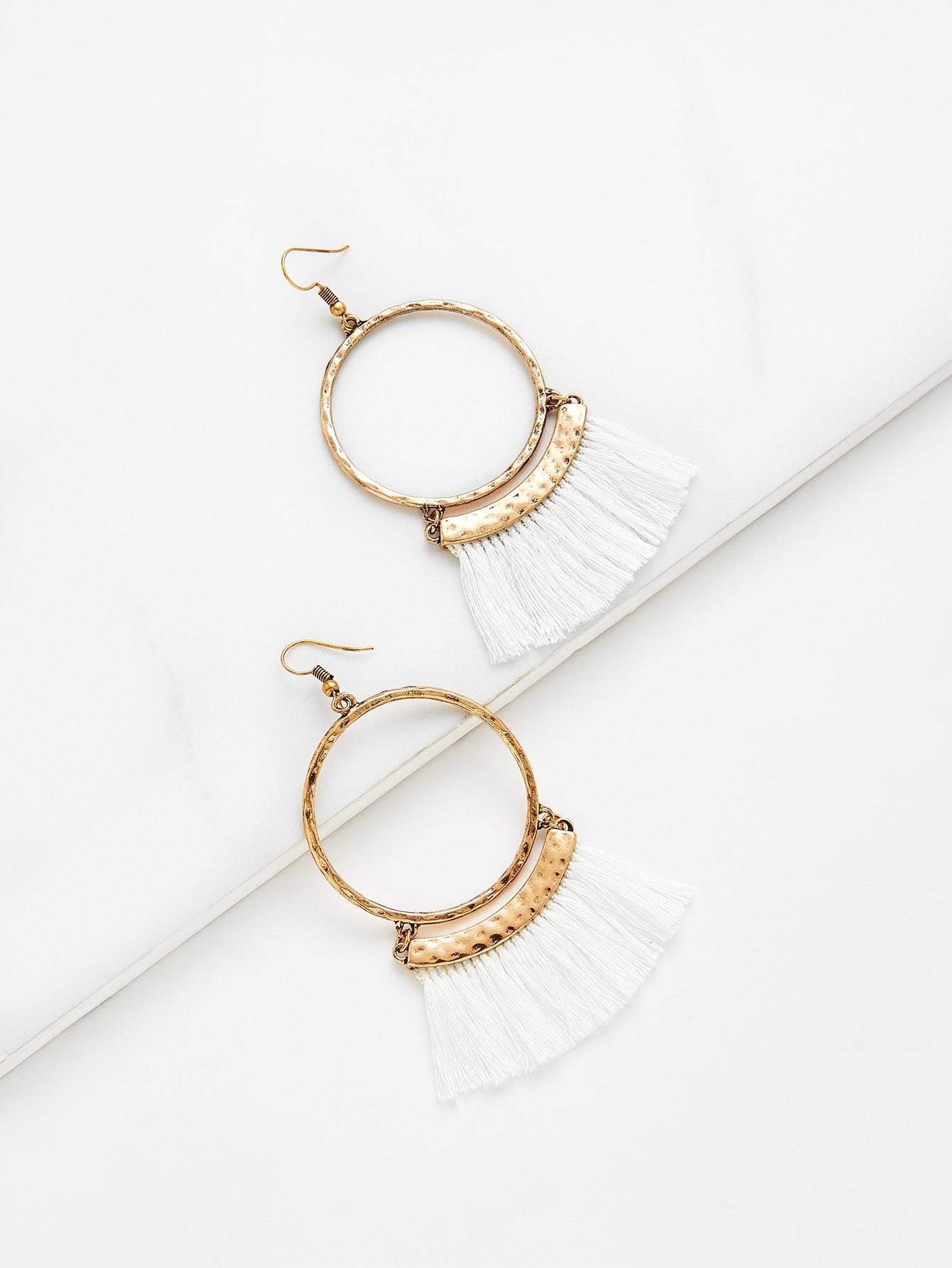 Fringe Tassel Hoop Drop Earrings vintage tassel drop hoop earrings
