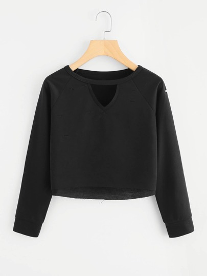 V Cut Neck Raw Hem Crop Sweatshirt