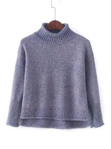 Rib Trim Rolled Sweater