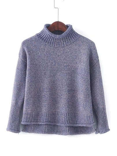 Rib Trim Rolled Sweater